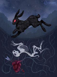 The Black Rabbit of Inle by suviridian on DeviantArt Rabbit Drawing, Rabbit Art, Creepy Drawings, Art Drawings, Halloween Drawings, Rabbit Illustration, Illustration Art, Illustrations, Dessin Old School
