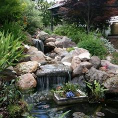 Waterfalls Backyard Ponds With Container Plant , Relaxing Waterfalls  Backyard Ponds In Landscaping And Outdoor Building