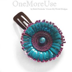 Recycled Flower Barette upcycled fused plastic by OneMoreUse, $20.00