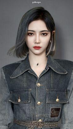 Pretty Korean Girls, Sexy Asian Girls, Aesthetic People, Aesthetic Girl, Pop Fashion, Girl Fashion, Medium Hair Styles, Short Hair Styles, Skinny Girl Body