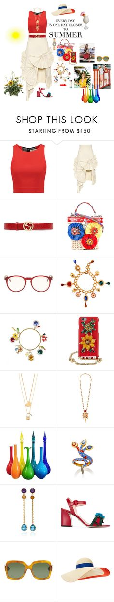 """""""One day closer to summer"""" by mbarbosa ❤ liked on Polyvore featuring Alice + Olivia, Jacquemus, Gucci, Dolce&Gabbana, Yves Saint Laurent, Tory Burch, TIKI, Slim Aarons, Courrèges and Holly Dyment"""