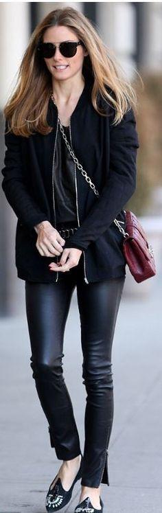 Who made  Olivia Palermo's red leather handbag, black jacket, and sunglasses…