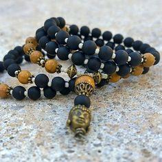 108 Mala Beads | UNISEX | Mens | Onyx & Jasper Wrist Mala - Mala Bracelet, Meditation Beads Prayer Beads, 108 Mala, Buddha Mala, Memory Wire...