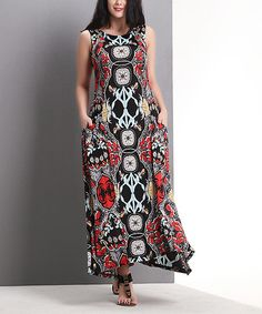 Love this Black Abstract Stripe Scoop Neck Maxi Dress - Plus by Reborn Collection on #zulily! #zulilyfinds