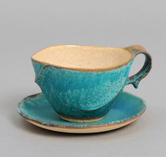GYORENBO GAMA HAMON COFFEE CUP & SAUCER, BLUE RIPPLE PATTERN :: HICKOREES