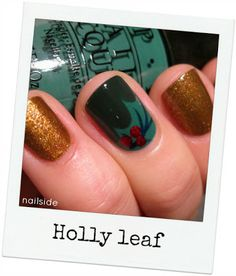 Tutorial for holly-leaf - awesome xmas mani. (I LOVE THIS GIRL'S BLOG.)