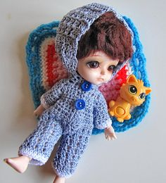 FREE SHIPPING Crocheted overal with hood on BJD Lati Yellow