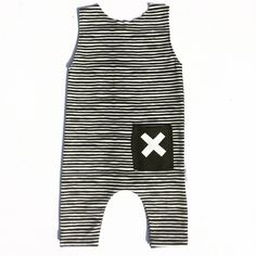 Marker. Stripe. Pocket. An organic knit romper printed with perfect marker stripes. Handmade in the USA by one mama.