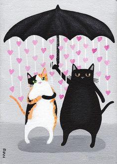 Amo las lluvias abajo Cat arte popular por KilkennycatArt en Etsy