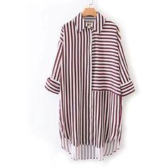 SheIn(sheinside) Dolphin Hem Striped Shirt Dress (1.205 RUB) ❤ liked on Polyvore featuring dresses, multicolor, stripe shirt dress, stripe dress, shirt dress, long shirt dress and striped shirt dress