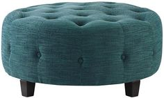 "Farrow Round Tufted Ottoman - Ottomans - Living Room - Furniture | HomeDecorators.com $369, 36"" diameter, so could be good size for coffee table"