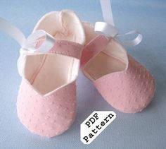 Sewing PDF Pattern Simple Mary Jane Baby Shoes Booties w/ Ribbon Ties