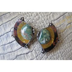 Mosaic Hardstone Inlaid Artisan Made OOAK Sterling Silver Earrings. ($50) ❤ liked on Polyvore featuring jewelry, earrings, 80s earrings, clip earrings, sterling silver earrings, vintage 80s earrings and sterling silver clip earrings