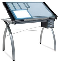 Bon Studio Designs Futura Silver/Blue Glass Drafting And Hobby Craft Station  Table | Art | Pinterest | Craft Station, Studio Design And Studio