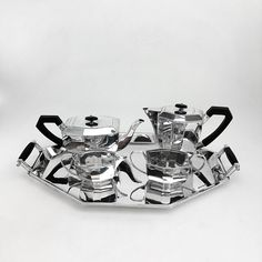 ART DECO STERLING SILVER 4 PIECE TEA & COFFEE SET ON TRAY 1961 / 63  Michael Sedler Antiques London Silver Vaults Chancery Lane London, UK Antique Silver Dealer www.sedlerantiques.com #antique #antiquesilver #sedlersilver #silver #london #londonantiques #londonsilvervaults