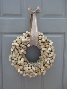 Wine Cork Wreath by ThompsonStaBaggCo on Etsy Wine Cork Wreath, Wine Cork Art, Wine Corks, Wine Cork Holder, Wine Bottles, Wine Craft, Wine Cork Crafts, Cork Christmas Trees, Wine Cork Projects
