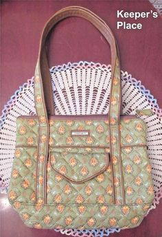 Longaberger Sunflower Paisley Green Quilted Faux Leather Bag Retired Mint