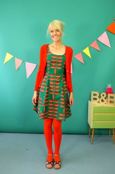 "Dresses – LAST ONE GR. 40 BAUMWOLLKLEID ""REIKJA GREEN"" – a unique product by Bonnie-and-Buttermilk on DaWanda"