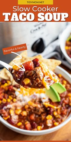 Turn a simple dinner into a feast by serving SLOW COOKER TACO SOUP! This family favorite recipe is flavorful, hearty and a snap to make for the chilliest of days. Be ready for everyone at your table to want seconds! PRINTABLE RECIPE at TidyMom.net