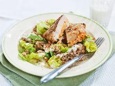 Ajvar and feta stuffed Chicken with Barley Salad