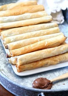 "These Crispy Salty Nutella ""Cigars"" are SO SO amazing! They're crispy, salty, buttery and filled with creamy Nutella!"