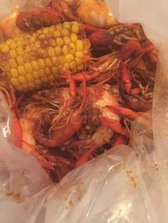 The Boiling Crab 1 lb crawfish ($11), 1/2 lb shrimp ($4.50) and corn ($0.75) -- in whole shabang seasoning, mild | Yelp