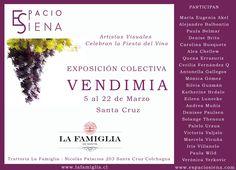 Exposición colectiva VENDIMIA, en la que artistas chilenos celebran la Fiests de la Vendimia en Santa Cruz. Organizada por ESPACIO SIENA: