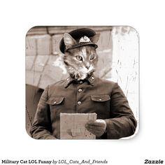Military Cat LOL Funny Square Sticker