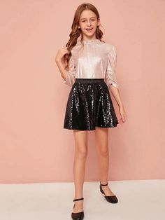 Girls Frill Neck Button Back Ruched Gigot Sleeve Metallic Top – Kidenhouse Wedding Dresses For Girls, Dresses Kids Girl, Kids Outfits Girls, Cute Girl Outfits, Girls Party Dress, Cute Outfits For Kids, Cute Casual Outfits, Cute Dresses, Girls Sports Clothes