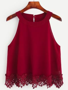 Online shopping for Burgundy Crochet Trim Chiffon Halter Neck Top from a great selection of women's fashion clothing & more at MakeMeChic. Teen Fashion Outfits, Trendy Outfits, Girl Fashion, Fashion Dresses, Cute Outfits, Crochet Dress Outfits, Chiffon Cami Tops, Chiffon Shirt, Jugend Mode Outfits