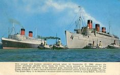 This was taken just before Queen Elizabeth's sea trails, having been completed and fully repainted in Cunard livery Whilst we see The Queen Mary still in hew war colours as she was just concluding her war duties on this day This very special photograph was taken on September 27, 1947, and a souvenir postcard was made from it