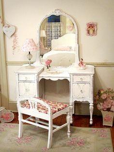 Beautiful White Antique Vanity with Mirror and Bench ... this would be so pretty in a little girls room.