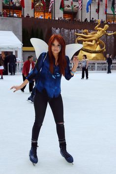 Debby Ryan takes a spin on the ice at the NY Premiere of Secret of the Wings