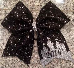 Bows by April - Black Glitter and Rhinestones Glitter Princess Castle 2014 Orlando Events Cheer Bow, $20.00 (http://www.bowsbyapril.com/black-glitter-and-rhinestones-glitter-princess-castle-2014-orlando-events-cheer-bow/)