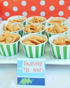 Dinosaur Party for boys. Use bugles for dinosaur toe nails.