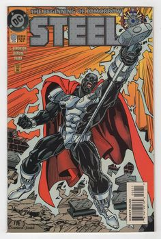 Steel 0 The Begining of Tomorrow Mnt DC Comic Superman Comic Books For Sale, Dc Comic Books, Comic Book Covers, Comic Art, Comic Book Characters, Comic Character, Steel Dc Comics, Wolf Comics, Dc Comics Collection