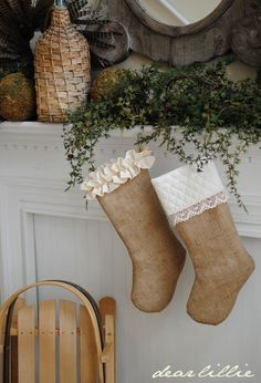 Dear Lillie: Ruffled and Quilted Burlap Stockings