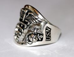 """Gold Corpsman Ring """"DOC"""" with Eagle Globe and Anchor  Celebrate a rewarding career in the US Army with a Personalized Military Ring #USNavy #Navy #USMilitary  http://www.us-military-rings.com"""