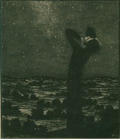František Kobliha (1877 - 1962):  May Night. Wood engraving, 1911.