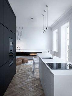 moderne keuken met visgraatvloer