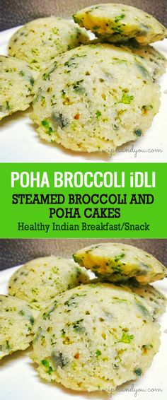 A perfect and healthy Indian breakfast recipe.Broccoli Poha Idli is a savory steamed cakes recipe made with flattened rice and broccoli. Indian Food Recipes, Vegetarian Recipes, Cooking Recipes, Veg Breakfast Recipes Indian, Breakfast Bread Recipes, Indian Foods, Indian Dishes, Veg Recipes, Easy Healthy Recipes