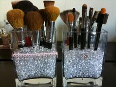 DIY Make up brush holders - i need to do this.Just a suggestion......if you do this and keep your brushes in the bathroom,  make sure EVERYONE knows to shut the lid before flushing toilet.  You don't want any germs on your brushes. And you would not believe how many germs come out of the toilet when it's flushed with the lid up.  YUCK!