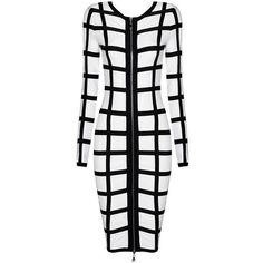 Black White Long Sleeve Bandage Plus Size Dress ($298) ❤ liked on Polyvore featuring dresses, sexy cocktail dresses, bodycon dress, long sleeve cocktail dresses, sexy plus size cocktail dresses and plus size party dresses
