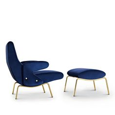 """Delfino Chair and Pouf  Erberto Carboni for Arflex Designed  in 1954, the Delfino is a significant example of the so-called """"organic"""" movement which developed in the fifties. With its sinuous lines giving the body continual support, the Delfino is a unitary structure without discontinuance. Chair $4,308.00; Pouf $2,104.00"""