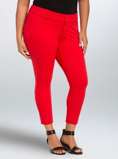 Cropped Trouser Pant - Red All-Nighter Ponte, BRIGHT RED