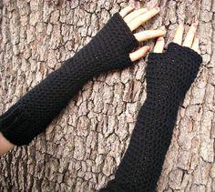 Hand Crocheted Fingerless Gloves Mittens  Long by pixiebell, $50.00