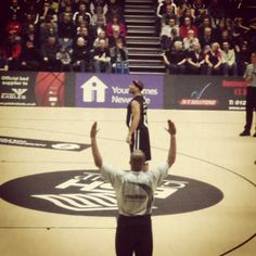 Paul Gause of the Newcastle Eagles on the line for 2