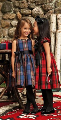 ·. ¸ƙỈɗʂ.¸¸. These heritage-inspired Ralph Lauren tartan party dresses have a darling fit-and-flare silhouette and a contrasting grosgrain sash.: