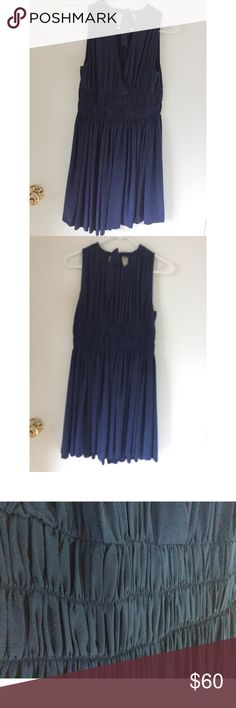Navy blue silk bridesmaid dress Navy blue and 100% silk! Ribbon ties the neckline in the back for a beautiful feminine touch! The cut is very modest and classic. Joie Dresses Midi