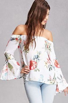Forever 21 Contemporary - A semi-sheer woven top featuring a square neckline, adjustable cami straps, a split-front foldover detail, concealed button-down front, lace-up back with self-ties, long raglan bell sleeves, and a curved hem.